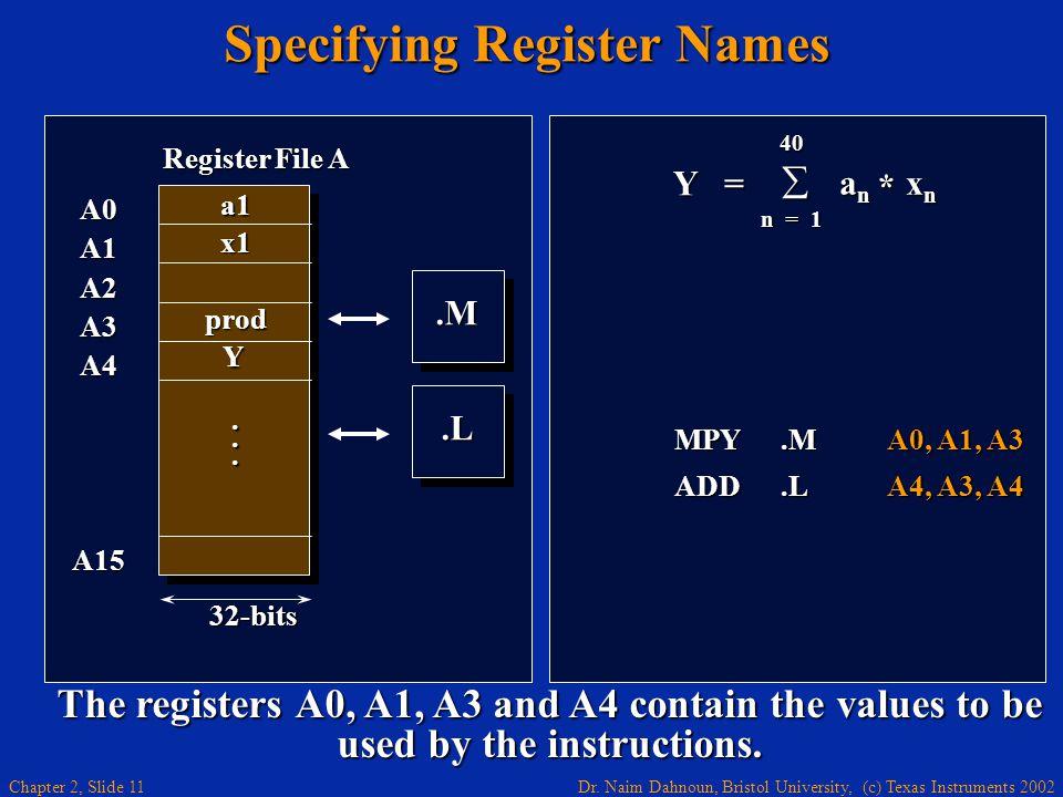 Dr. Naim Dahnoun, Bristol University, (c) Texas Instruments 2002 Chapter 2, Slide 11 Specifying Register Names Y = 40  a n x n n = 1 * MPY.MA0, A1, A