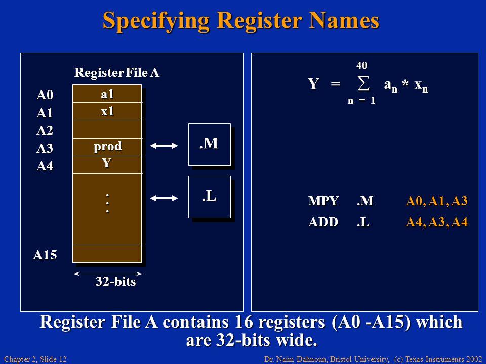 Dr. Naim Dahnoun, Bristol University, (c) Texas Instruments 2002 Chapter 2, Slide 12 Specifying Register Names Y = 40  a n x n n = 1 * MPY.MA0, A1, A
