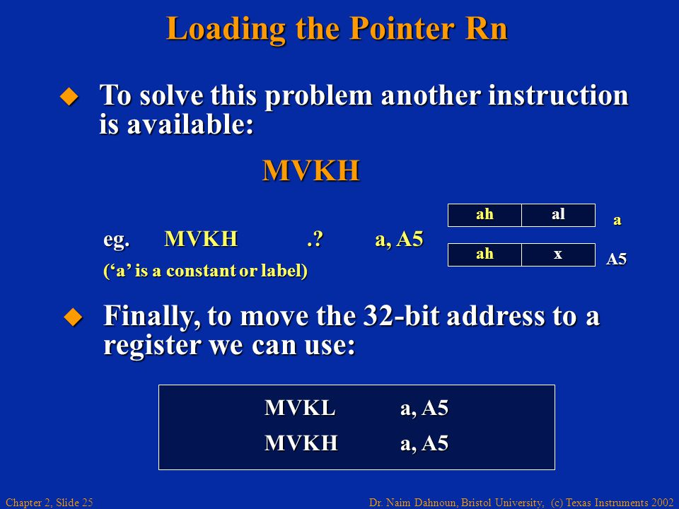 Dr. Naim Dahnoun, Bristol University, (c) Texas Instruments 2002 Chapter 2, Slide 25  To solve this problem another instruction is available: MVKH Lo
