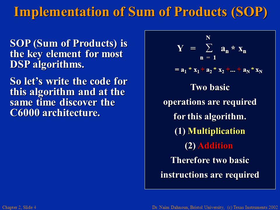 Dr. Naim Dahnoun, Bristol University, (c) Texas Instruments 2002 Chapter 2, Slide 4 Implementation of Sum of Products (SOP) Implementation of Sum of P