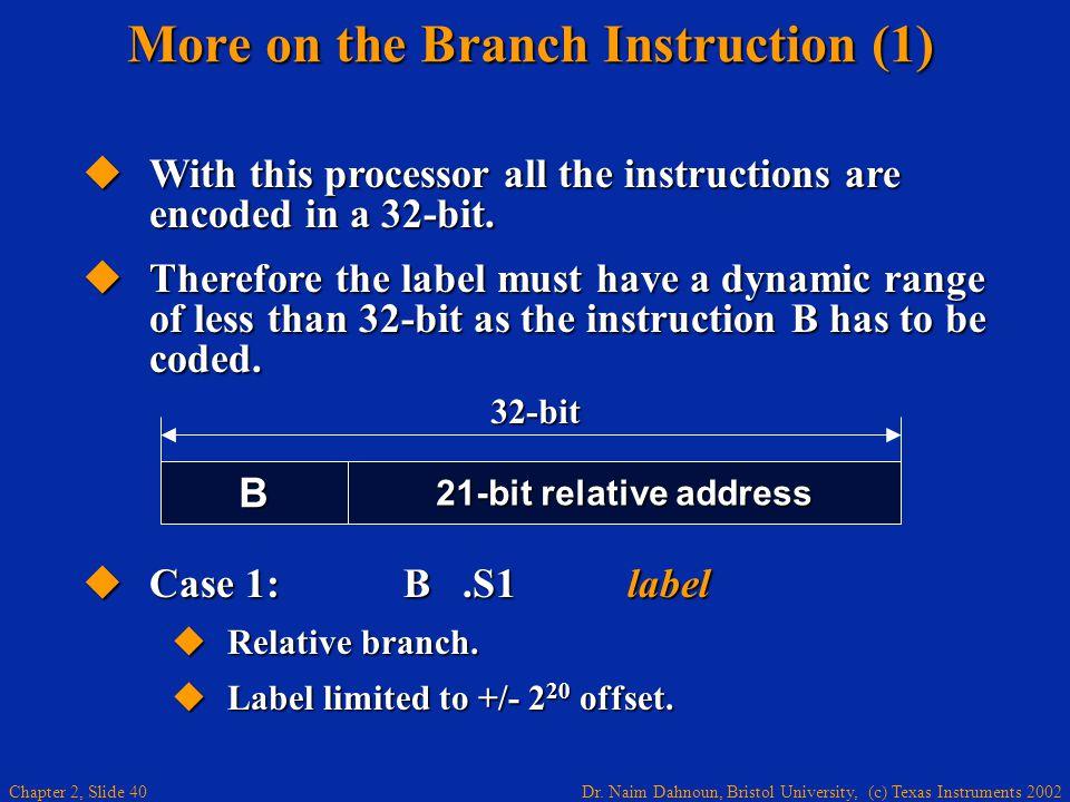 Dr. Naim Dahnoun, Bristol University, (c) Texas Instruments 2002 Chapter 2, Slide 40  Case 1: B.S1 label  Relative branch.  Label limited to +/- 2