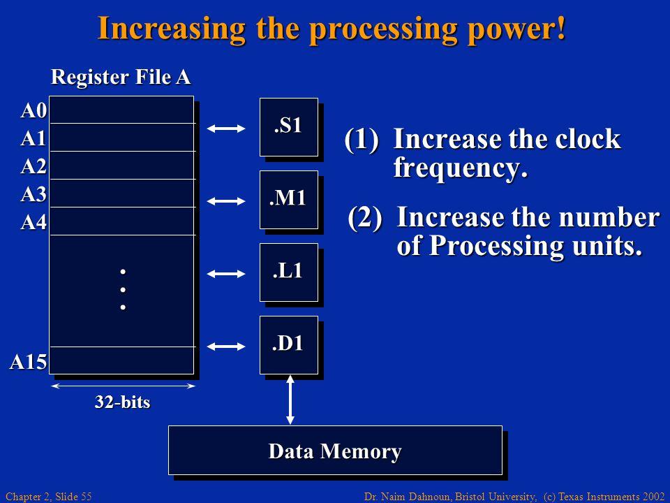 Dr. Naim Dahnoun, Bristol University, (c) Texas Instruments 2002 Chapter 2, Slide 55 (1)Increase the clock frequency..S1.S1.M1.M1.L1.L1.D1.D1 A0 A1 A2