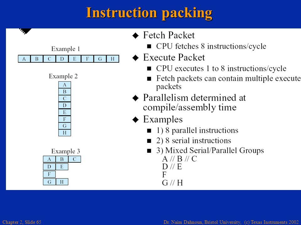 Dr. Naim Dahnoun, Bristol University, (c) Texas Instruments 2002 Chapter 2, Slide 65 Instruction packing