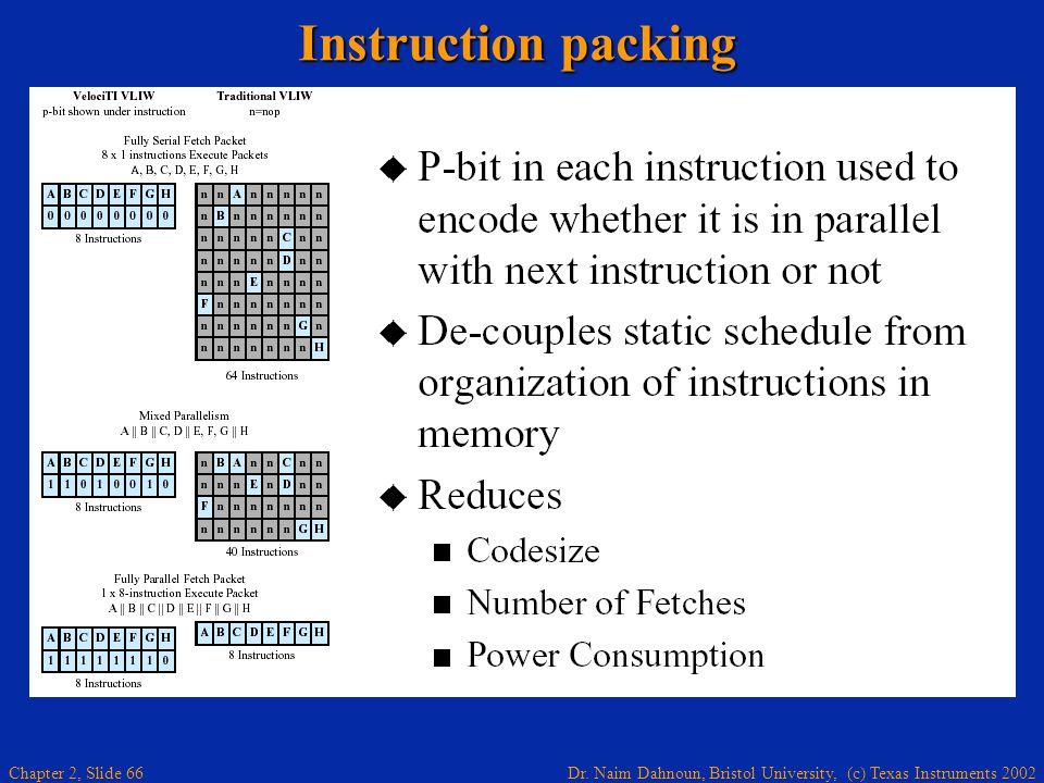 Dr. Naim Dahnoun, Bristol University, (c) Texas Instruments 2002 Chapter 2, Slide 66 Instruction packing