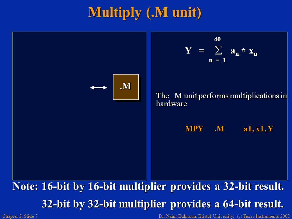 Dr. Naim Dahnoun, Bristol University, (c) Texas Instruments 2002 Chapter 2, Slide 7 Multiply (.M unit).M.M Y = 40  a n x n n = 1 * The. M unit perfor