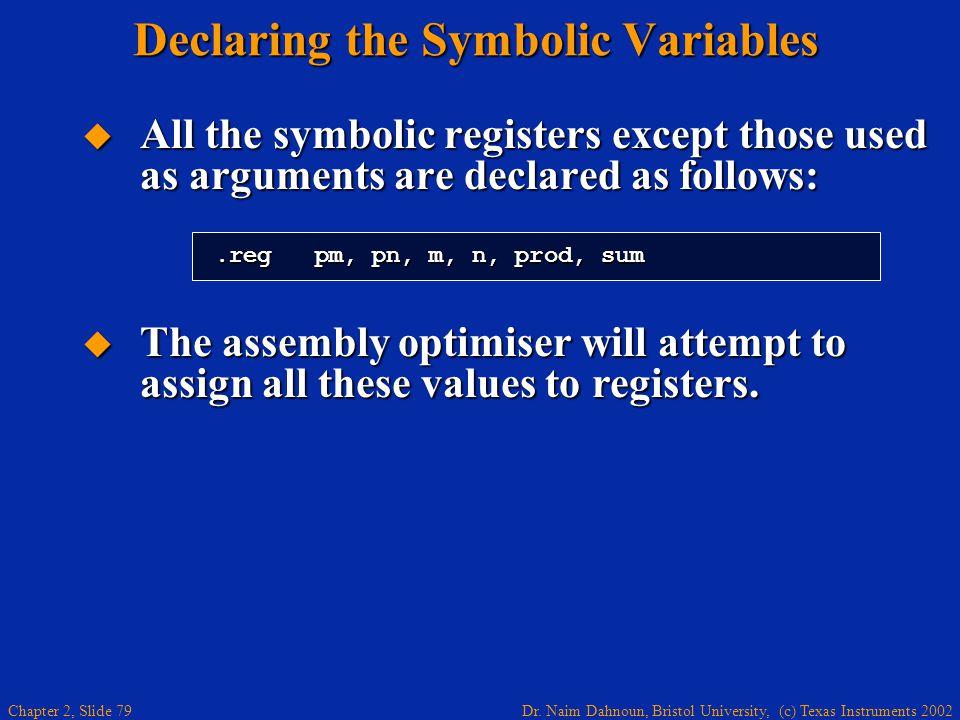 Dr. Naim Dahnoun, Bristol University, (c) Texas Instruments 2002 Chapter 2, Slide 79 Declaring the Symbolic Variables  All the symbolic registers exc