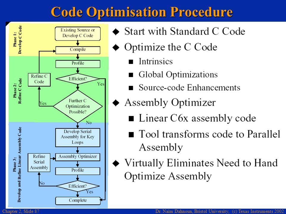 Dr. Naim Dahnoun, Bristol University, (c) Texas Instruments 2002 Chapter 2, Slide 87 Code Optimisation Procedure