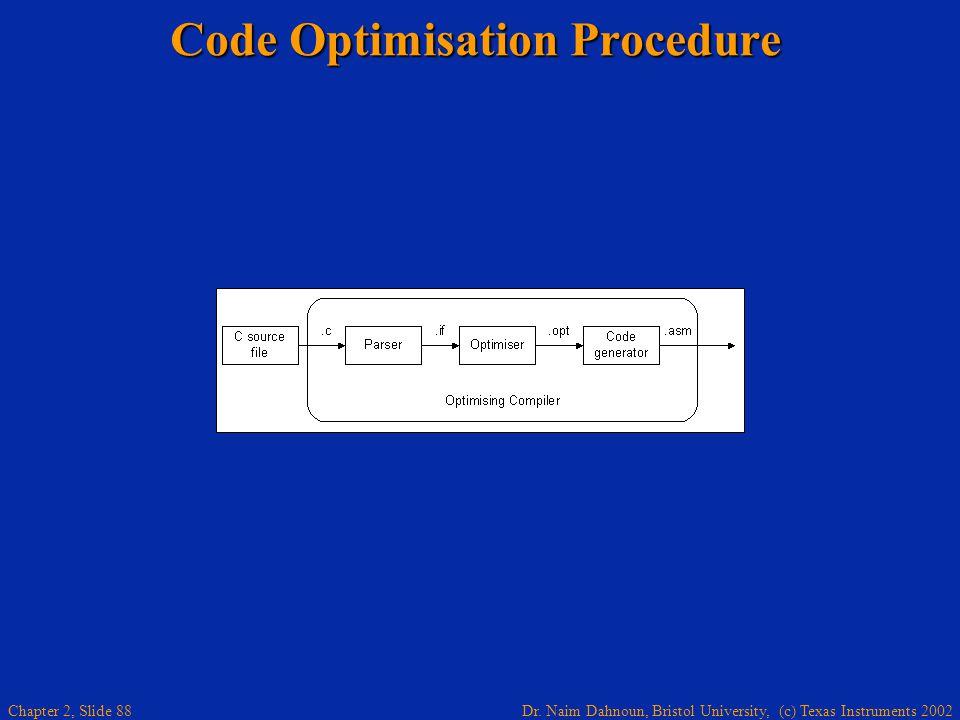 Dr. Naim Dahnoun, Bristol University, (c) Texas Instruments 2002 Chapter 2, Slide 88 Code Optimisation Procedure