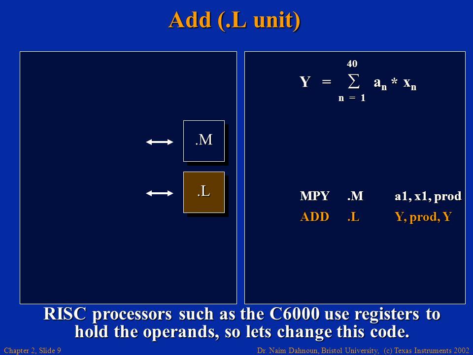 Dr. Naim Dahnoun, Bristol University, (c) Texas Instruments 2002 Chapter 2, Slide 9 Add (.L unit).M.M.L.L Y = 40  a n x n n = 1 * MPY.Ma1, x1, prod A