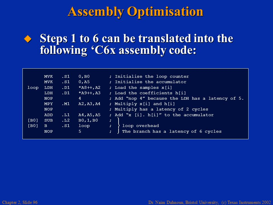Dr. Naim Dahnoun, Bristol University, (c) Texas Instruments 2002 Chapter 2, Slide 96 Assembly Optimisation  Steps 1 to 6 can be translated into the f