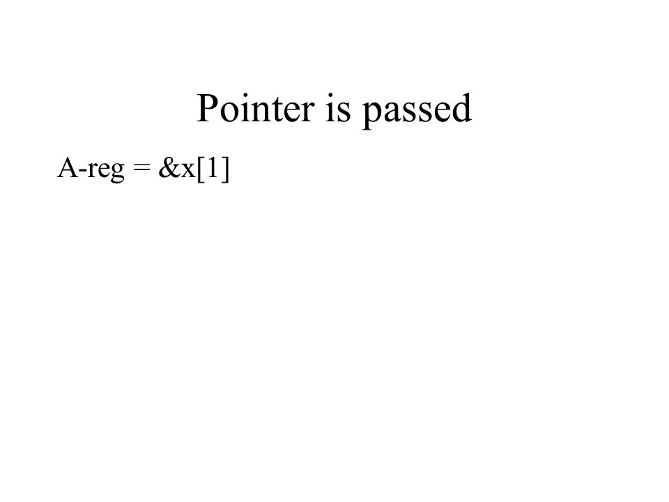 Pointer is passed A-reg = &x[1]