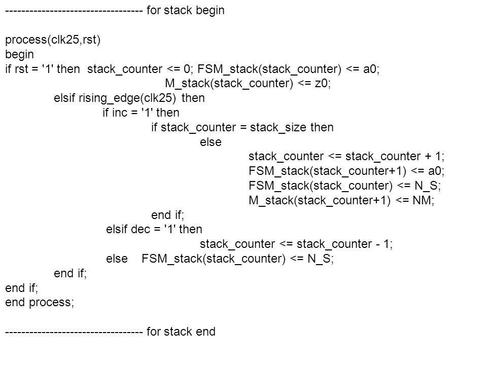 ---------------------------------- for stack begin process(clk25,rst) begin if rst = 1 then stack_counter <= 0; FSM_stack(stack_counter) <= a0; M_stack(stack_counter) <= z0; elsif rising_edge(clk25) then if inc = 1 then if stack_counter = stack_size then else stack_counter <= stack_counter + 1; FSM_stack(stack_counter+1) <= a0; FSM_stack(stack_counter) <= N_S; M_stack(stack_counter+1) <= NM; end if; elsif dec = 1 then stack_counter <= stack_counter - 1; else FSM_stack(stack_counter) <= N_S; end if; end process; ---------------------------------- for stack end