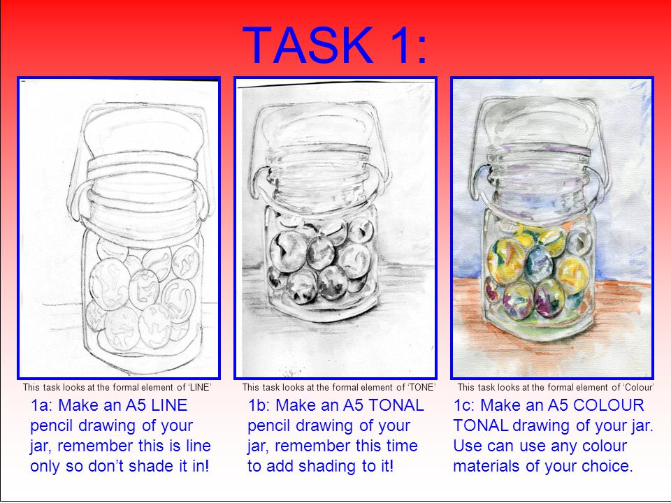 TASK 1: 1a: Make an A5 LINE pencil drawing of your jar, remember this is line only so don't shade it in! 1b: Make an A5 TONAL pencil drawing of your j