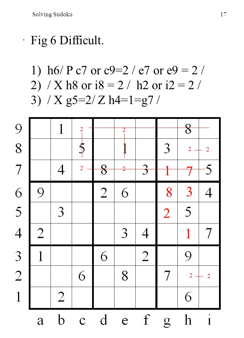 Solving Sudoku17. Fig 6 Difficult.