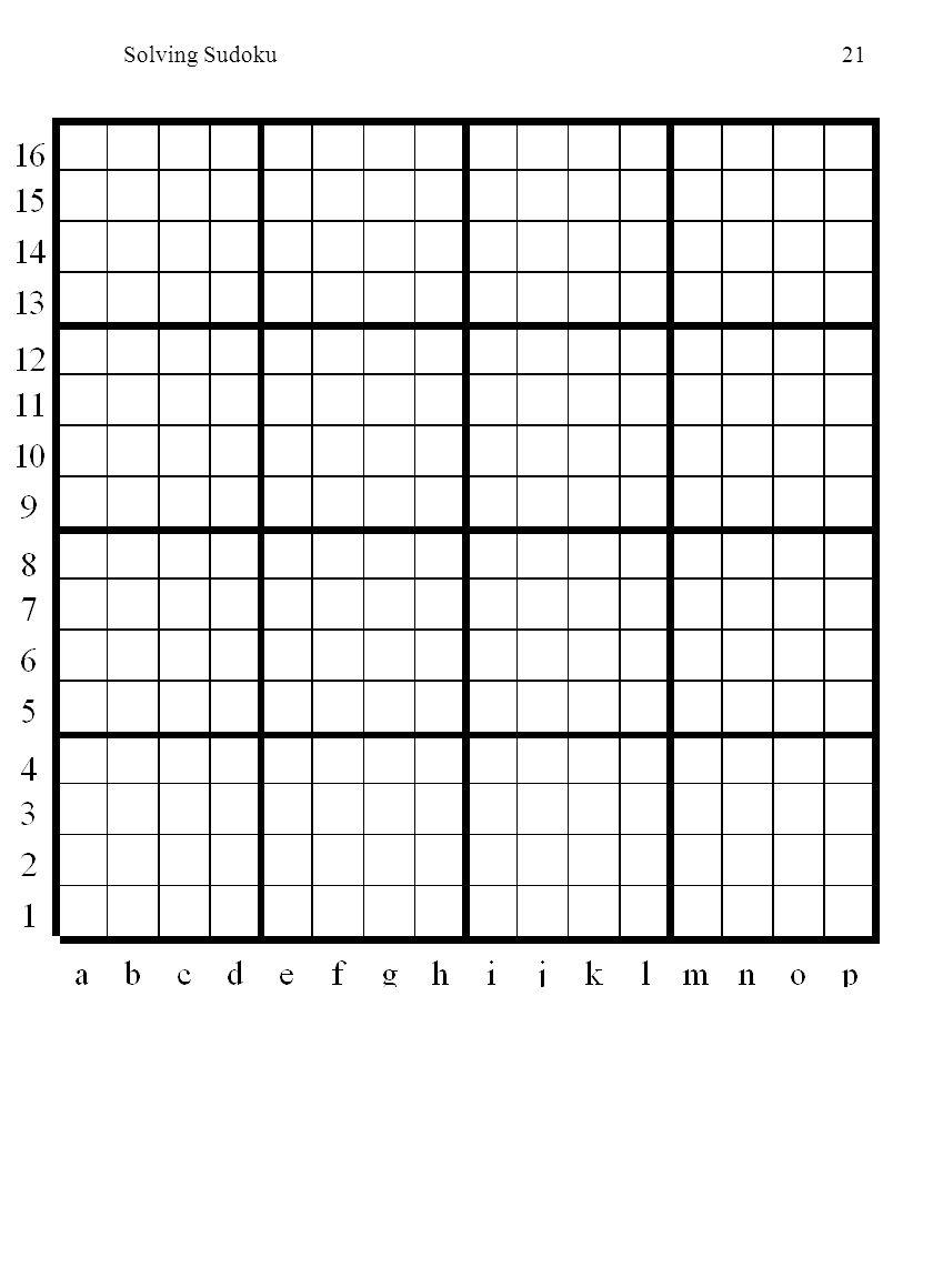 Solving Sudoku21