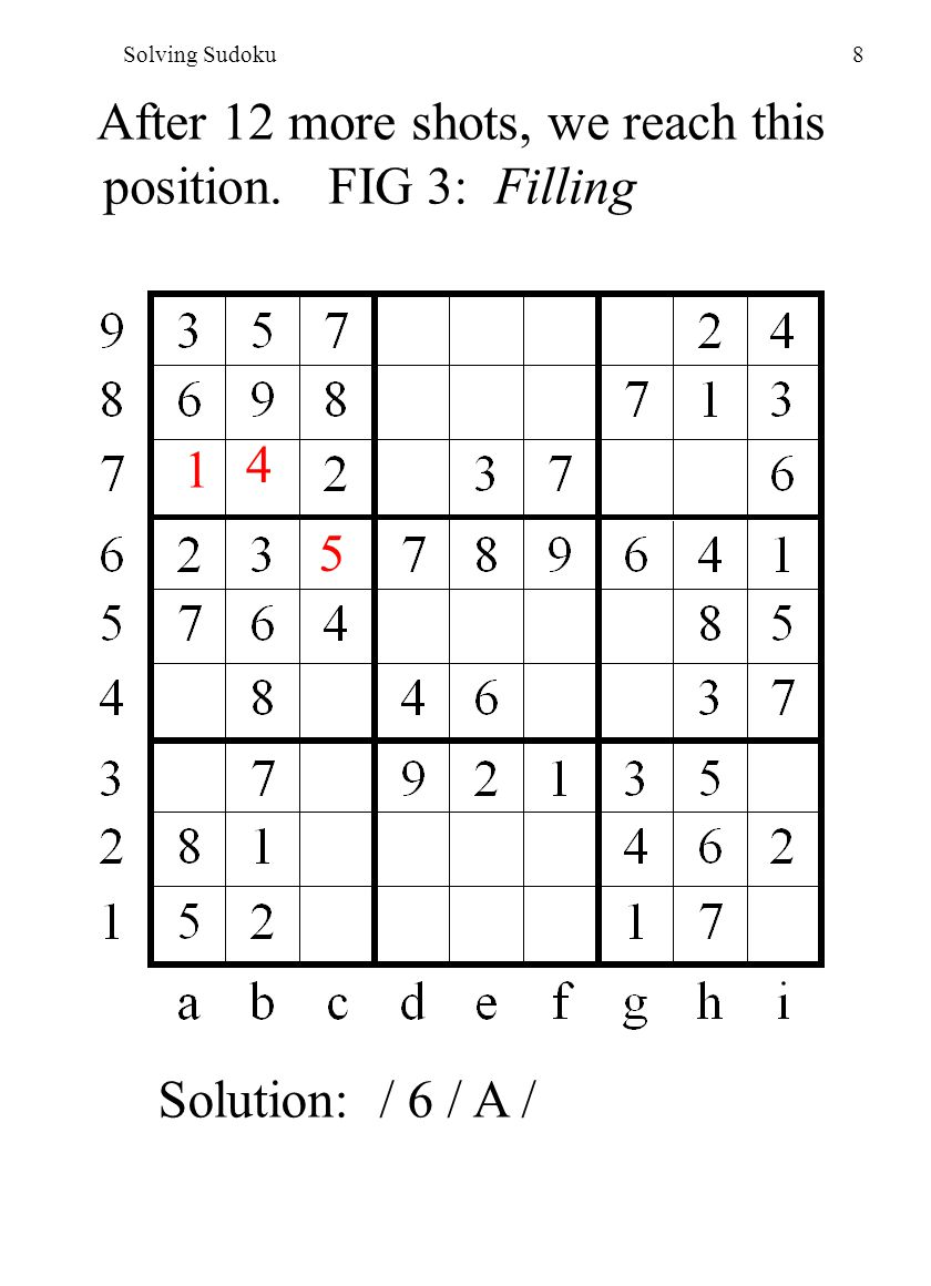 Solving Sudoku8 After 12 more shots, we reach this position.
