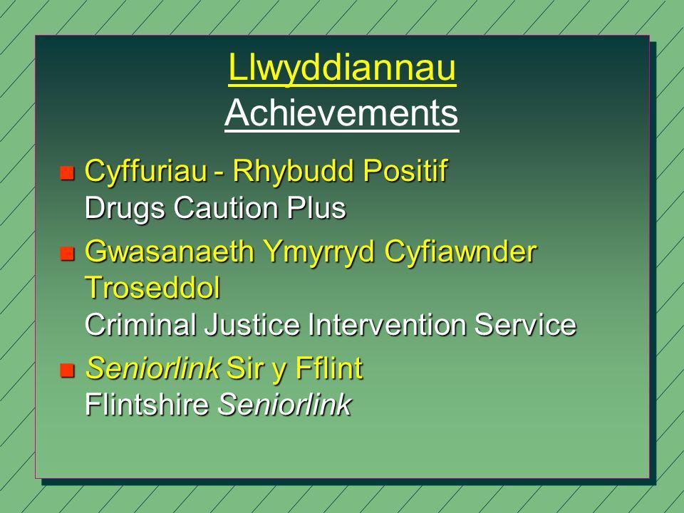 Llwyddiannau Achievements n Cyffuriau - Rhybudd Positif Drugs Caution Plus n Gwasanaeth Ymyrryd Cyfiawnder Troseddol Criminal Justice Intervention Service n Seniorlink Sir y Fflint Flintshire Seniorlink