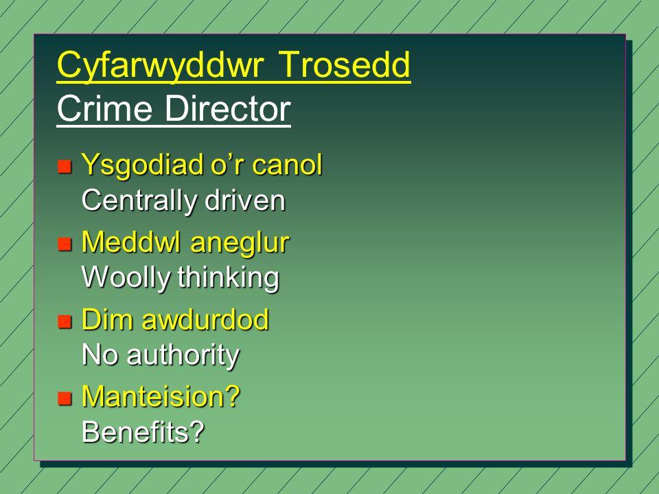 Cyfarwyddwr Trosedd Crime Director n Ysgodiad o'r canol Centrally driven n Meddwl aneglur Woolly thinking n Dim awdurdod No authority n Manteision.