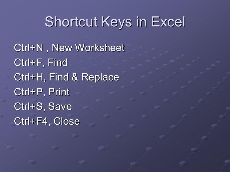 Shortcut Keys in Excel Ctrl+N, New Worksheet Ctrl+F, Find Ctrl+H, Find & Replace Ctrl+P, Print Ctrl+S, Save Ctrl+F4, Close
