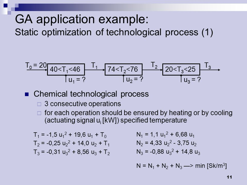 12 GA application example: Static optimization of technological process (2) Chromozome:[u 1, u 2, u 3 ] After 500 iterations:  u 1 = 1,47 kW u 2 = 2,63 kW u 3 = -3,64 kW  T 1 = 45,7 o C T 2 = 75,0 o C T 3 = 24,7 o C