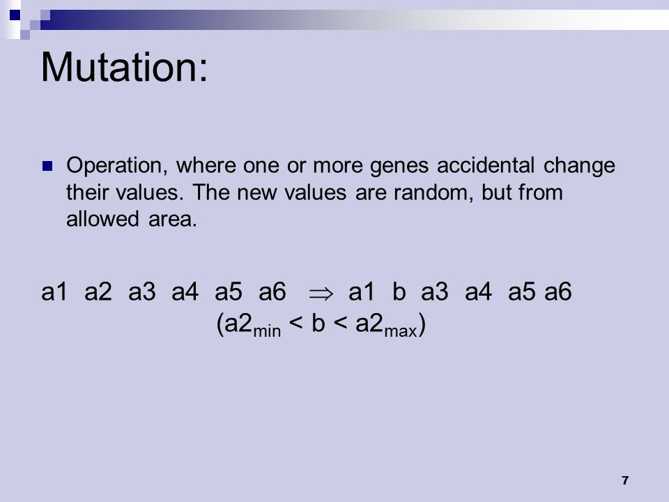 8 Genetic algorithms: Initialization of population Objective function (fitness) End .