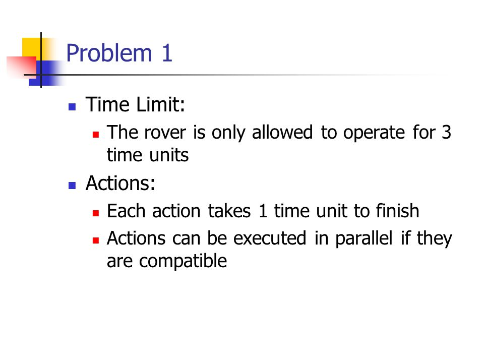 Problem 1 Time Limit: The rover is only allowed to operate for 3 time units Actions: Each action takes 1 time unit to finish Actions can be executed in parallel if they are compatible