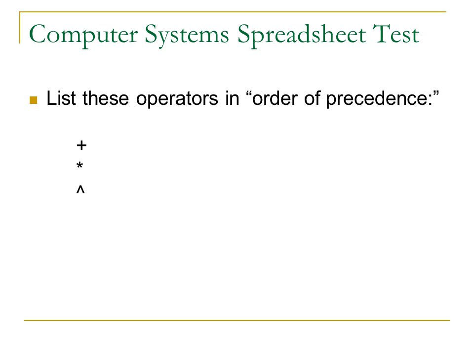 Computer Systems Spreadsheet Test List these operators in order of precedence: + * ^