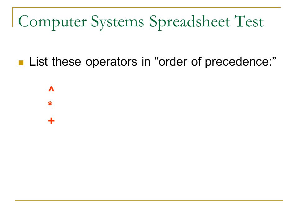 Computer Systems Spreadsheet Test List these operators in order of precedence: ^ * +