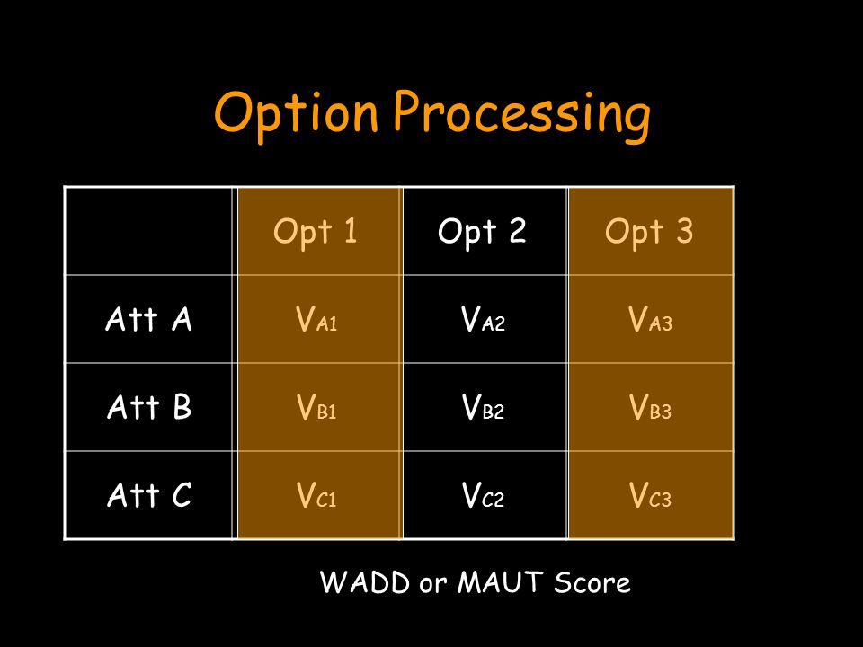 Option Processing Opt 1Opt 2Opt 3 Att AV A1 V A2 V A3 Att BV B1 V B2 V B3 Att CV C1 V C2 V C3 WADD or MAUT Score