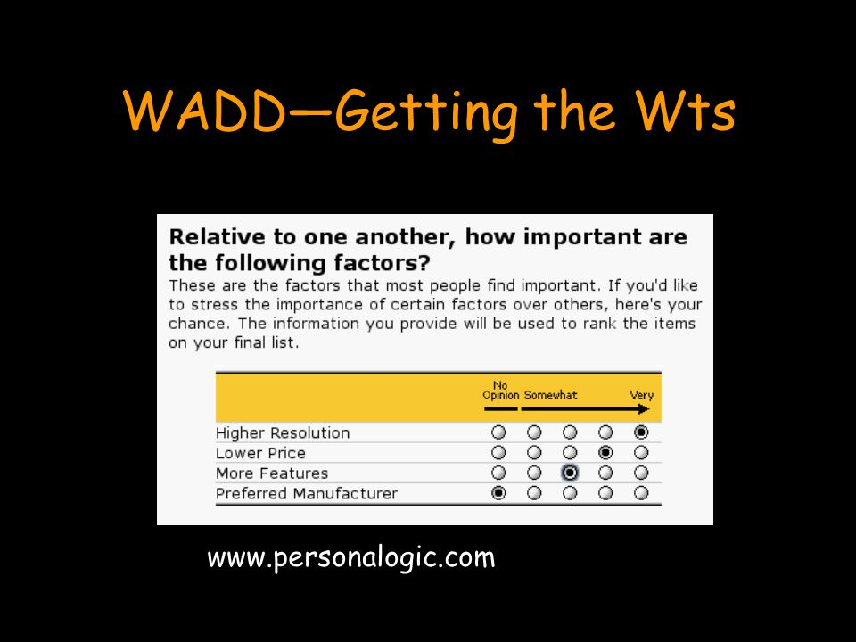 WADD—Getting the Wts www.personalogic.com