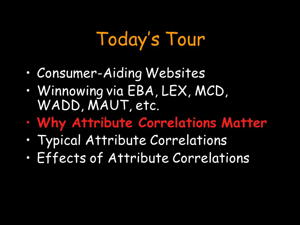 Today's Tour Consumer-Aiding Websites Winnowing via EBA, LEX, MCD, WADD, MAUT, etc.