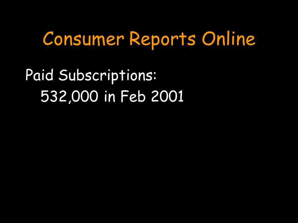 Consumer Reports Online Paid Subscriptions: 532,000 in Feb 2001