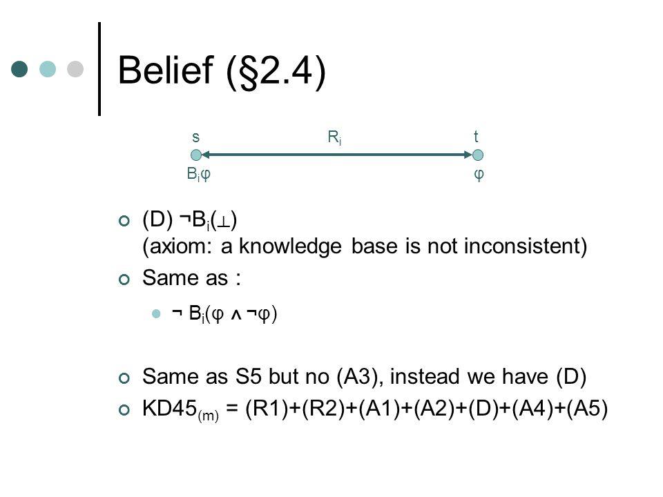 Belief (§2.4) (D) ¬B i ( ┴ ) (axiom: a knowledge base is not inconsistent) Same as : ¬ B i (φ ^ ¬φ) Same as S5 but no (A3), instead we have (D) KD45 (m) = (R1)+(R2)+(A1)+(A2)+(D)+(A4)+(A5) stRiRi φBiφBiφ