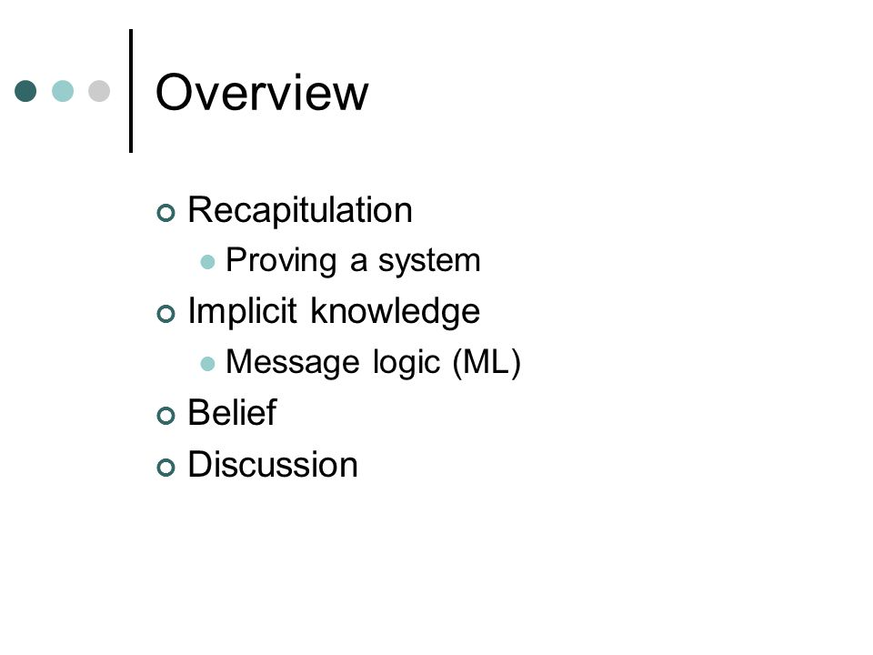 Overview Recapitulation Proving a system Implicit knowledge Message logic (ML) Belief Discussion