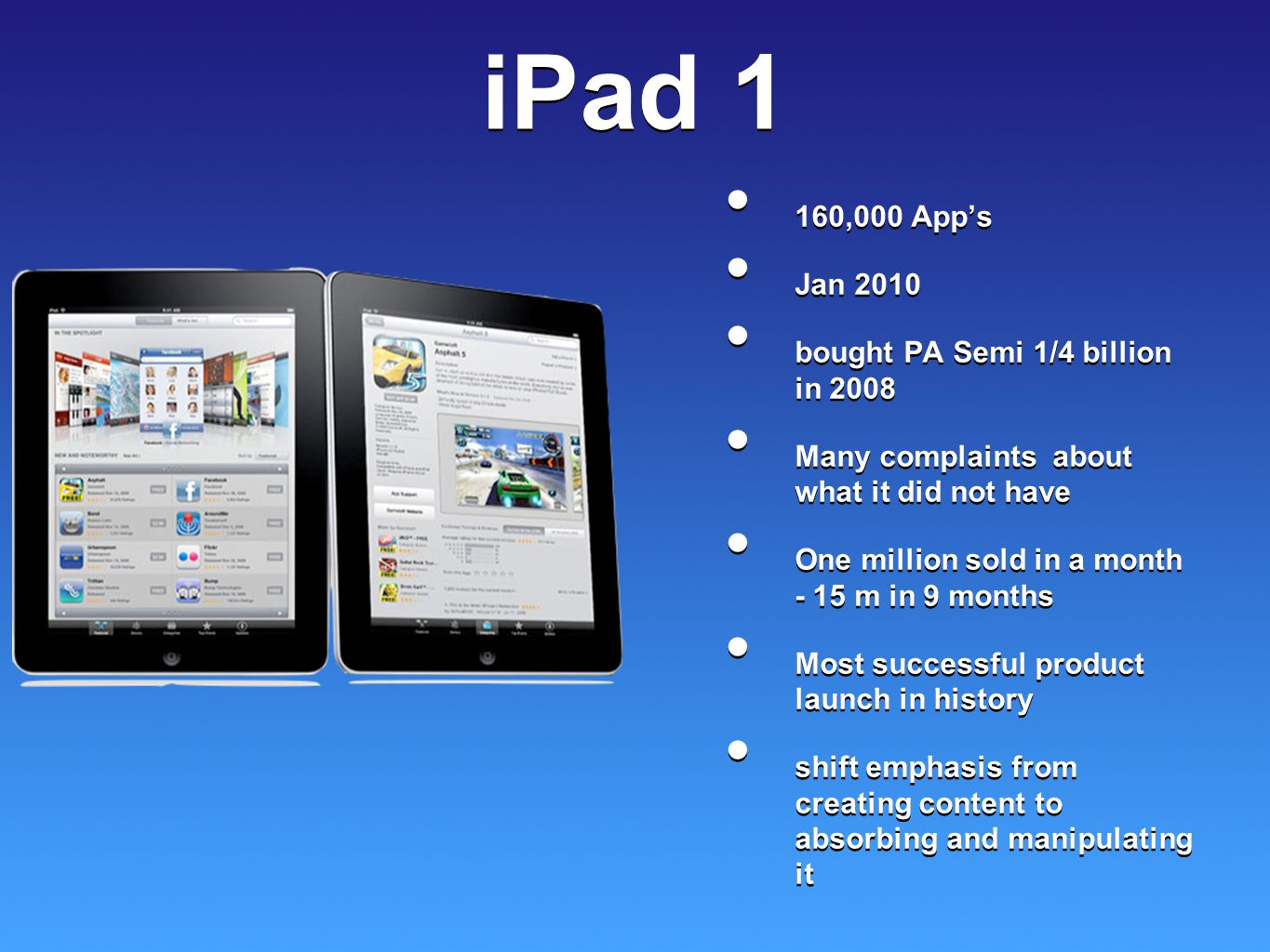 iPad 1 160,000 App's Jan 2010 bought PA Semi 1/4 billion in 2008 Many complaints about what it did not have One million sold in a month - 15 m in 9 mo