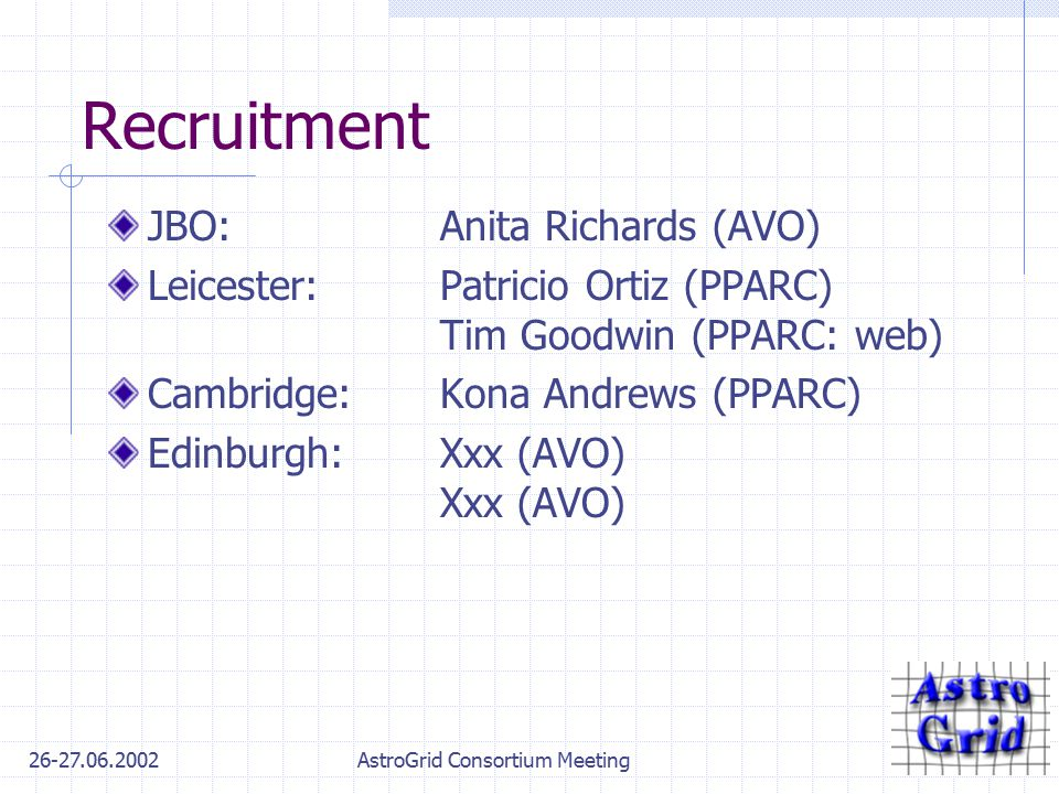 26-27.06.2002AstroGrid Consortium Meeting Recruitment JBO:Anita Richards (AVO) Leicester:Patricio Ortiz (PPARC) Tim Goodwin (PPARC: web) Cambridge:Kon