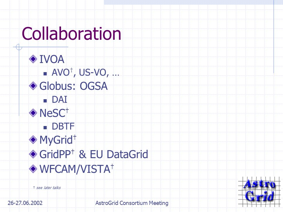 26-27.06.2002AstroGrid Consortium Meeting Collaboration IVOA AVO †, US-VO, … Globus: OGSA DAI NeSC † DBTF MyGrid † GridPP † & EU DataGrid WFCAM/VISTA † † see later talks