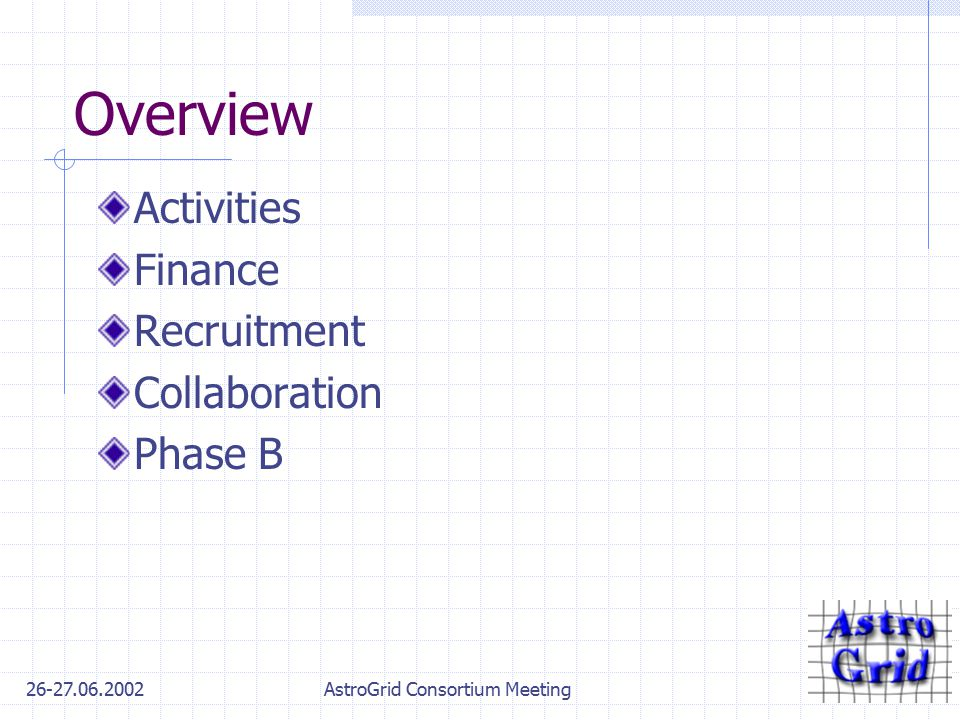 26-27.06.2002AstroGrid Consortium Meeting Overview Activities Finance Recruitment Collaboration Phase B