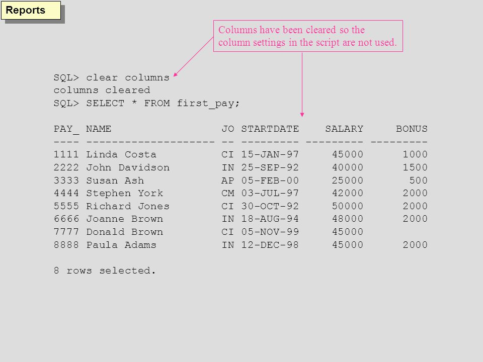 SQL> clear columns columns cleared SQL> SELECT * FROM first_pay; PAY_ NAME JO STARTDATE SALARY BONUS ---- -------------------- -- --------- --------- --------- 1111 Linda Costa CI 15-JAN-97 45000 1000 2222 John Davidson IN 25-SEP-92 40000 1500 3333 Susan Ash AP 05-FEB-00 25000 500 4444 Stephen York CM 03-JUL-97 42000 2000 5555 Richard Jones CI 30-OCT-92 50000 2000 6666 Joanne Brown IN 18-AUG-94 48000 2000 7777 Donald Brown CI 05-NOV-99 45000 8888 Paula Adams IN 12-DEC-98 45000 2000 8 rows selected.