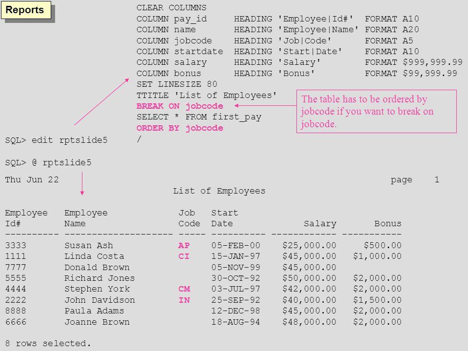 SQL> clear columns columns cleared SQL> clear breaks breaks cleared SQL> ttitle off SQL> SELECT * FROM first_pay; PAY_ NAME JO STARTDATE SALARY BONUS ---- -------------------- -- --------- --------- --------- 1111 Linda Costa CI 15-JAN-97 45000 1000 2222 John Davidson IN 25-SEP-92 40000 1500 3333 Susan Ash AP 05-FEB-00 25000 500 4444 Stephen York CM 03-JUL-97 42000 2000 5555 Richard Jones CI 30-OCT-92 50000 2000 6666 Joanne Brown IN 18-AUG-94 48000 2000 7777 Donald Brown CI 05-NOV-99 45000 8888 Paula Adams IN 12-DEC-98 45000 2000 8 rows selected.