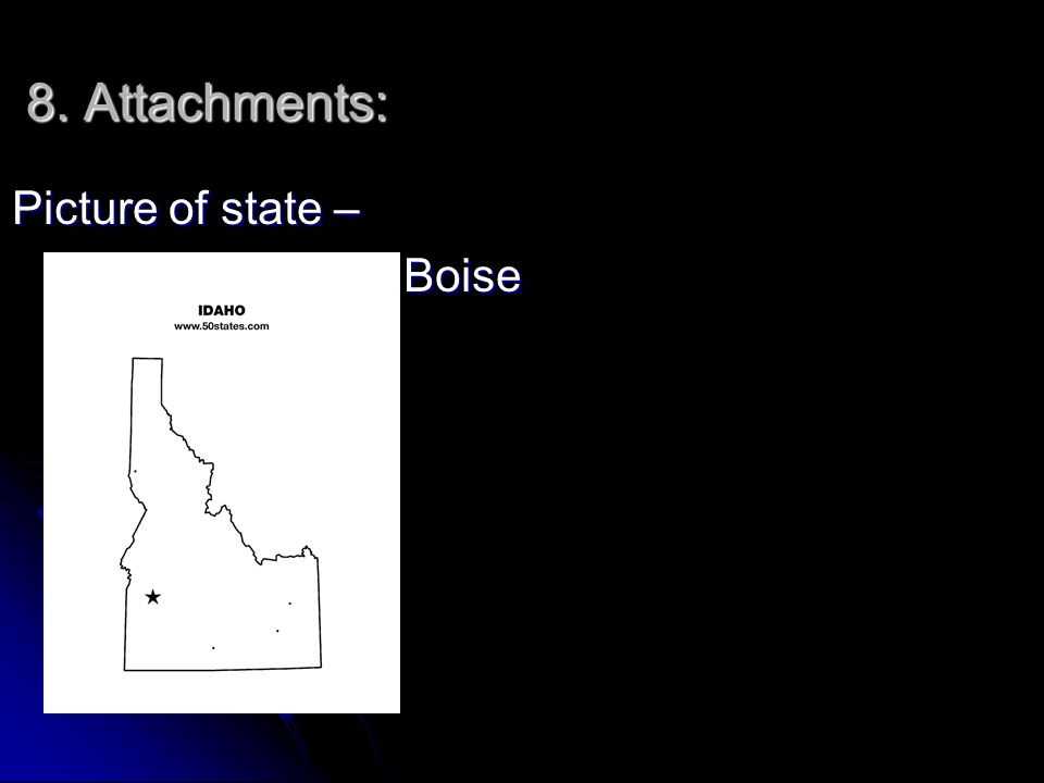 8. Attachments: Picture of state – * Boise * Boise