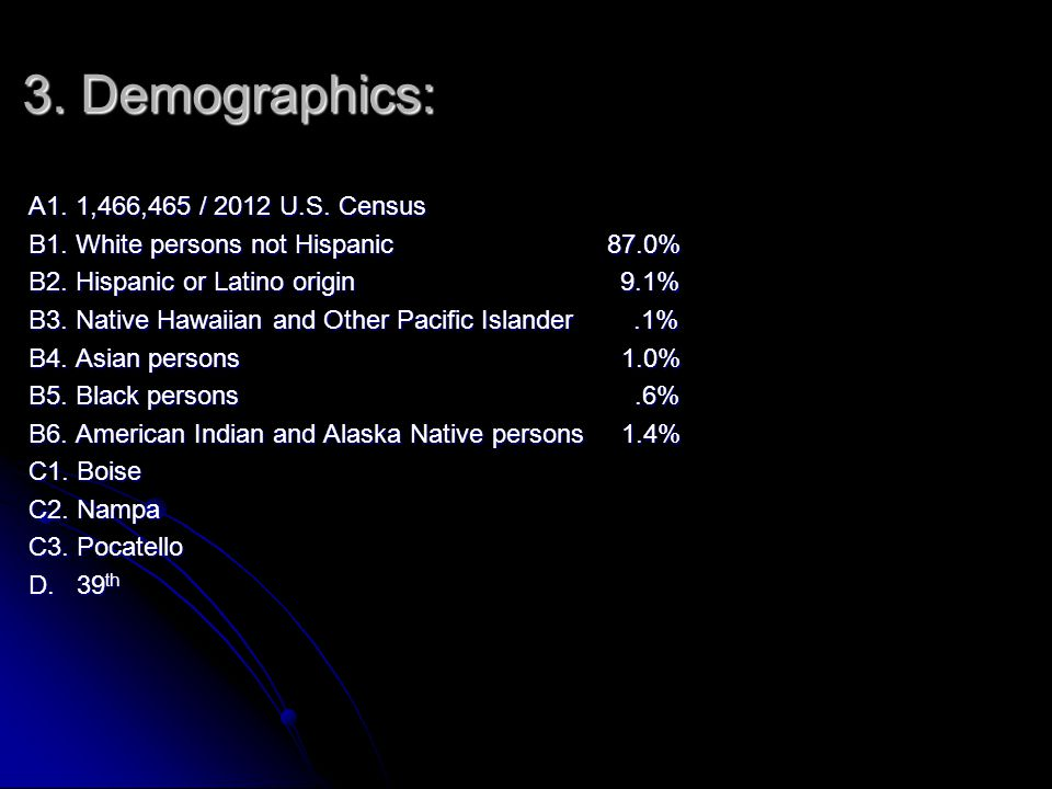 3. Demographics: A1. 1,466,465 / 2012 U.S. Census B1.