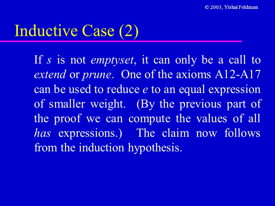 © 2003, Yishai Feldman Inductive Case (2) If s is not emptyset, it can only be a call to extend or prune. One of the axioms A12-A17 can be used to red