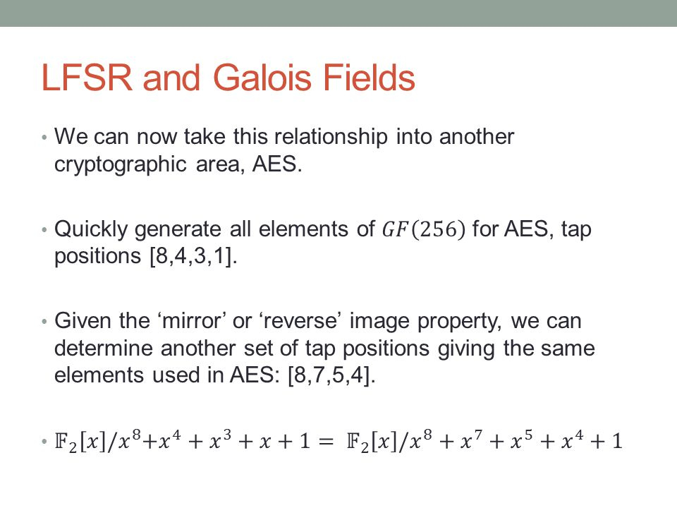 LFSR and Galois Fields