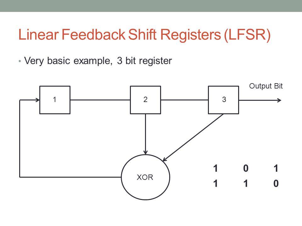 Linear Feedback Shift Registers (LFSR) Very basic example, 3 bit register XOR 123 Output Bit 101101 110110