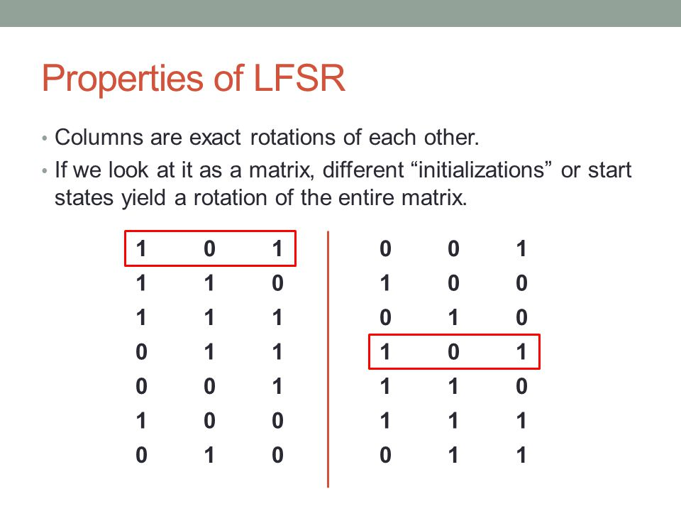 Properties of LFSR Columns are exact rotations of each other.