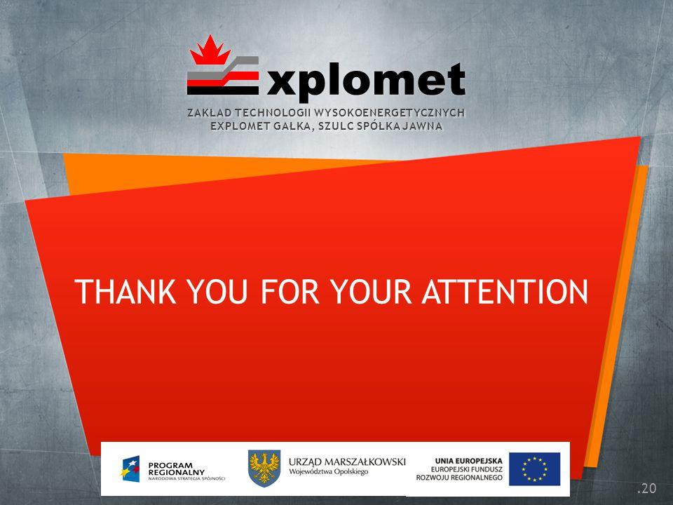 .20 THANK YOU FOR YOUR ATTENTION ZAKŁAD TECHNOLOGII WYSOKOENERGETYCZNYCH EXPLOMET GAŁKA, SZULC SPÓŁKA JAWNA ZAKŁAD TECHNOLOGII WYSOKOENERGETYCZNYCH EXPLOMET GAŁKA, SZULC SPÓŁKA JAWNA xplomet