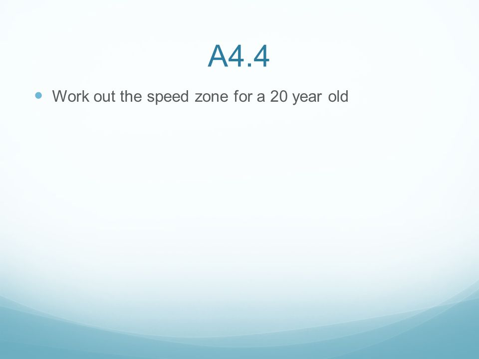 A4.4 Work out the speed zone for a 20 year old