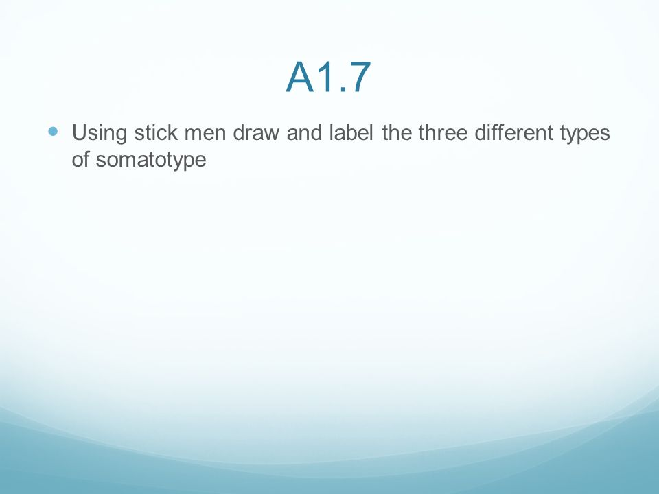 A1.7 Using stick men draw and label the three different types of somatotype