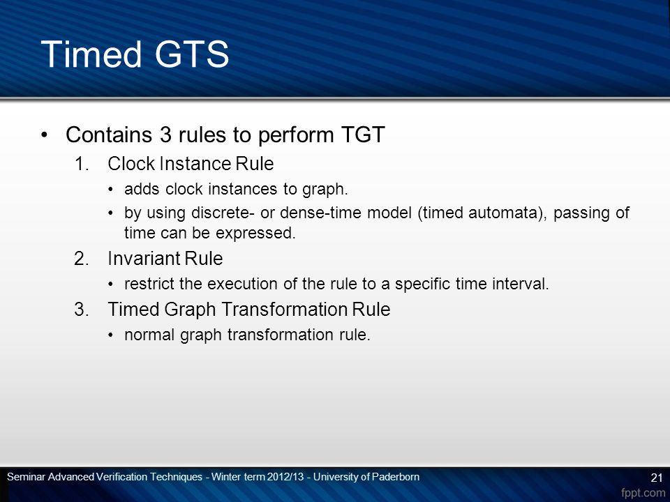 Contains 3 rules to perform TGT 1.Clock Instance Rule adds clock instances to graph.